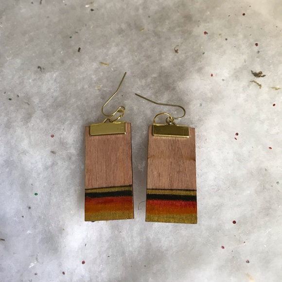 Wood Stain Dusk: Sunset Hand Stained And Painted Wood Earrings